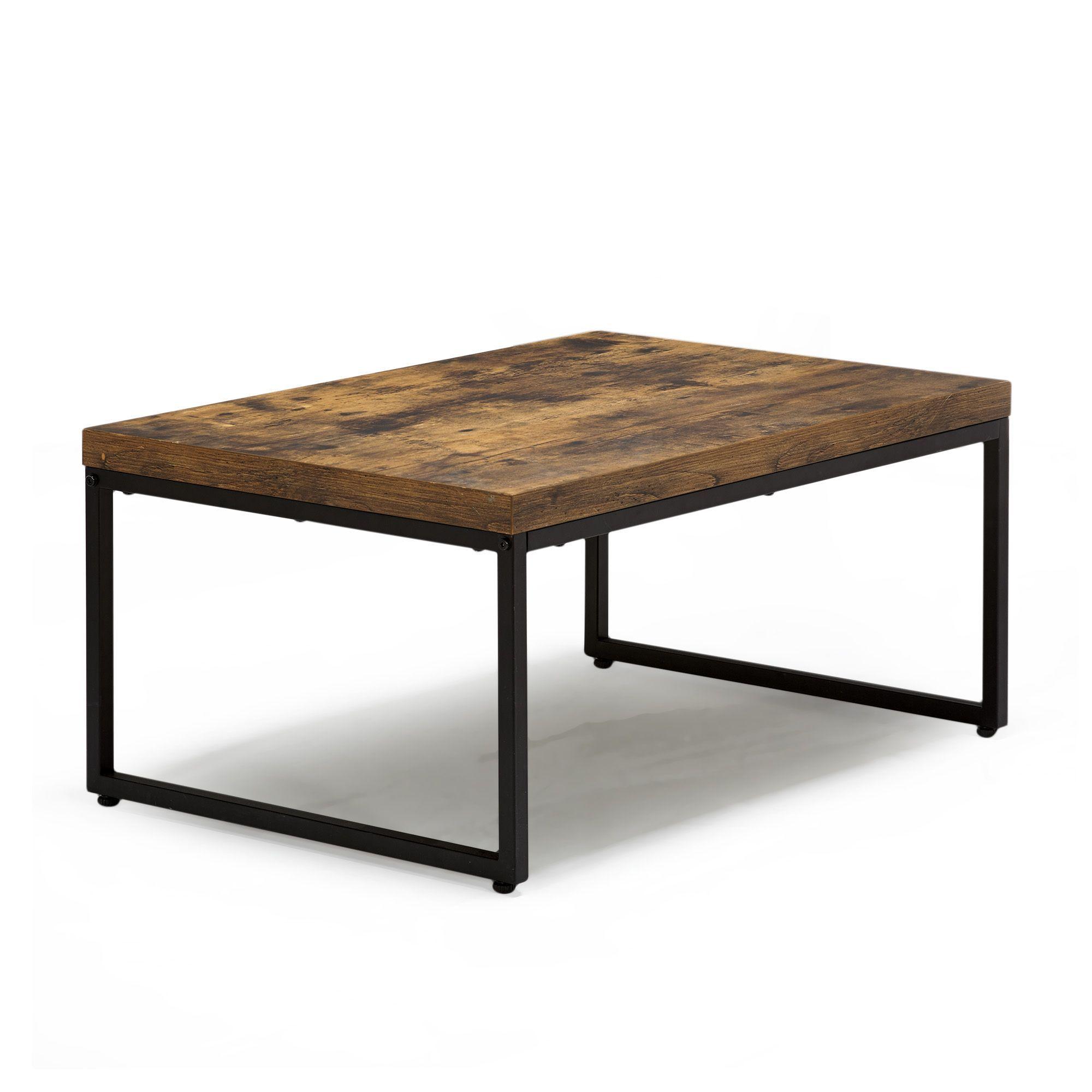 Table basse style exotique effet bois et acier - Manille - Salon ...