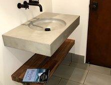 Natural Grey Concrete Sink, Teak Shelf Concrete Sinks Opus Concrete Santa Ana, CA