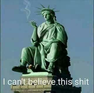 Candid photo of Lady Liberty watching the RNC in Cleveland (2016)