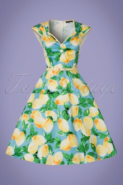 22dd1a0c4311 Lady V Isabella Lemon Swing Dress print citroen 1950s jurk vintage retro  look blue green yellow blauw groen geel