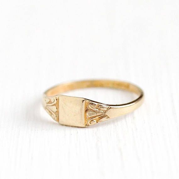 Vintage Baby Ring Art Deco 10k Rosy Yellow Gold Signet