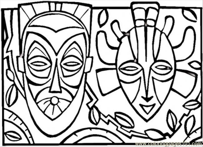 Coloring Pages African Mask Countries