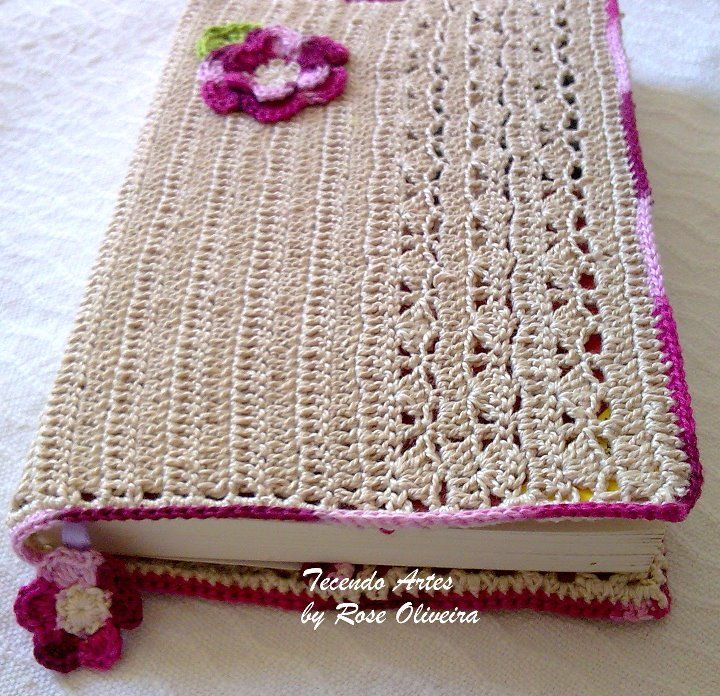 Book Cover Crochet Hook : Crochet book cover http tecendoartesesonhos spot
