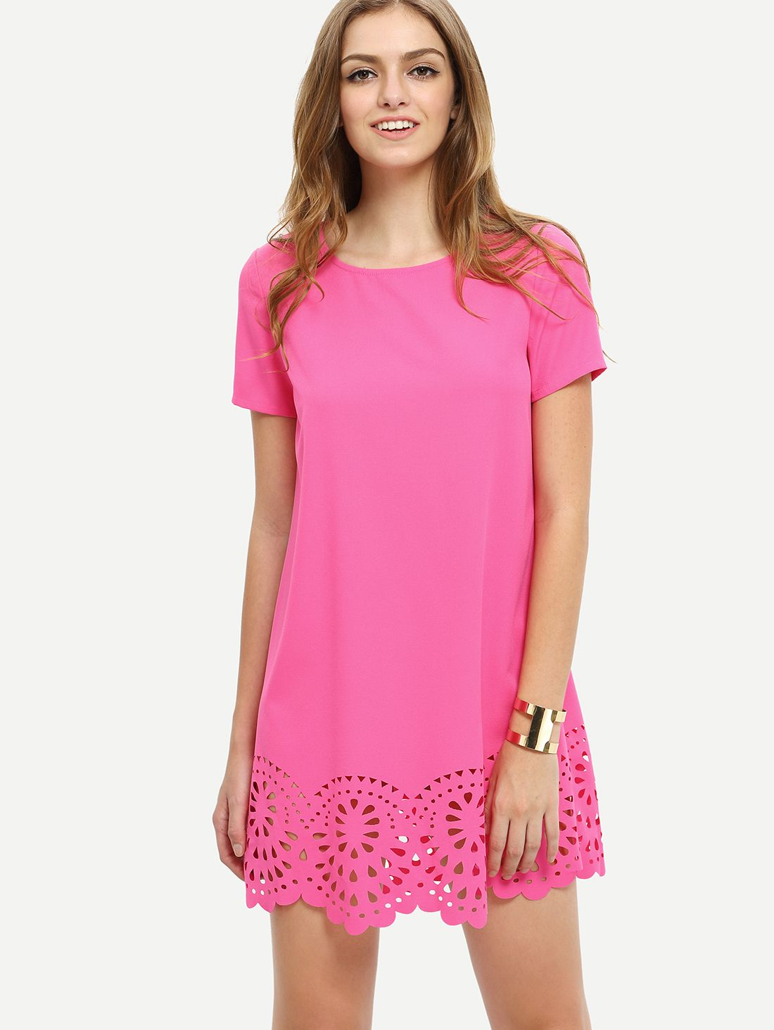 Manga color de rosa caliente hueco corto Vestido suelto -SheIn ...