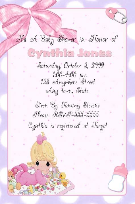 Precious Moments Invitation Baby Shower Baby Shower