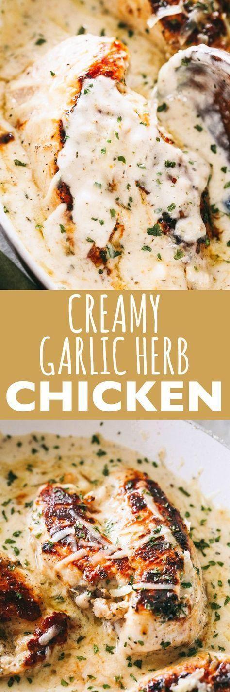 Creamy Garlic Herb Chicken Recipe - Pan-seared chicken breasts prepared with a c...  - EASY Recipes