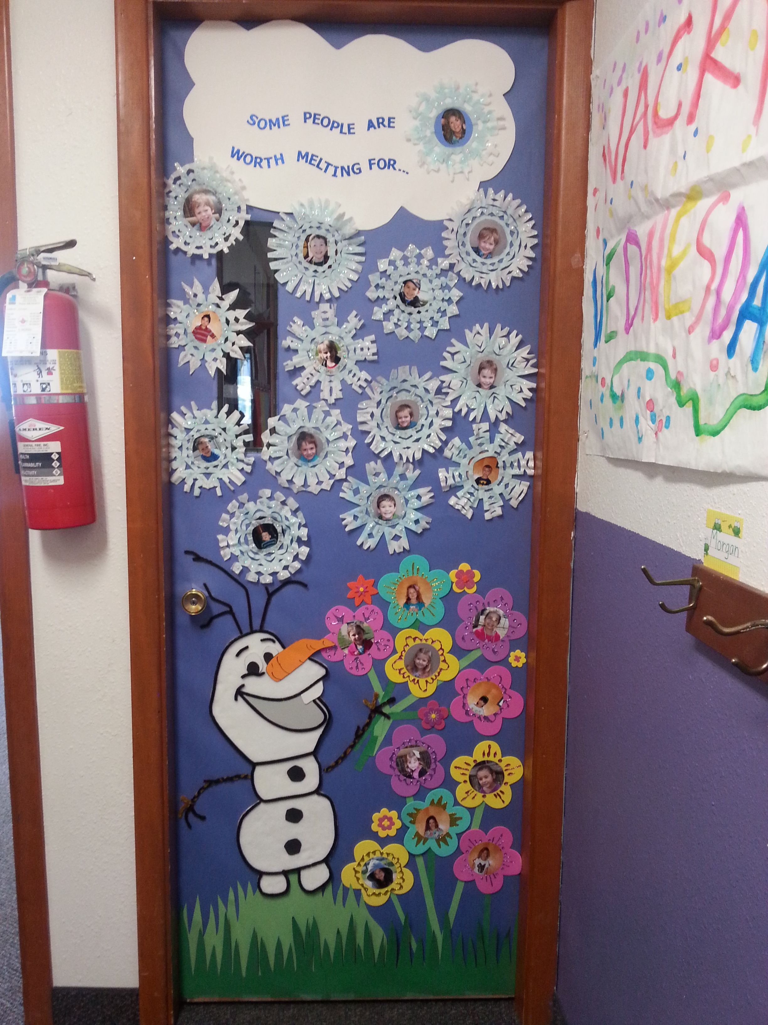 January classroom door decoration ideas - Season Change Winter To Spring Our Frozen Themed Door Decoration For Teacher Appreciation Week I Think It Turned Out So Cute