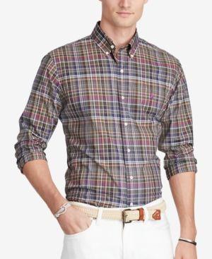 Polo Ralph Lauren Men's Plaid Poplin Shirt - Navy XXL