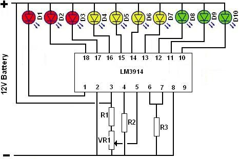 Battery state of charge monitor built using LM3914 dot