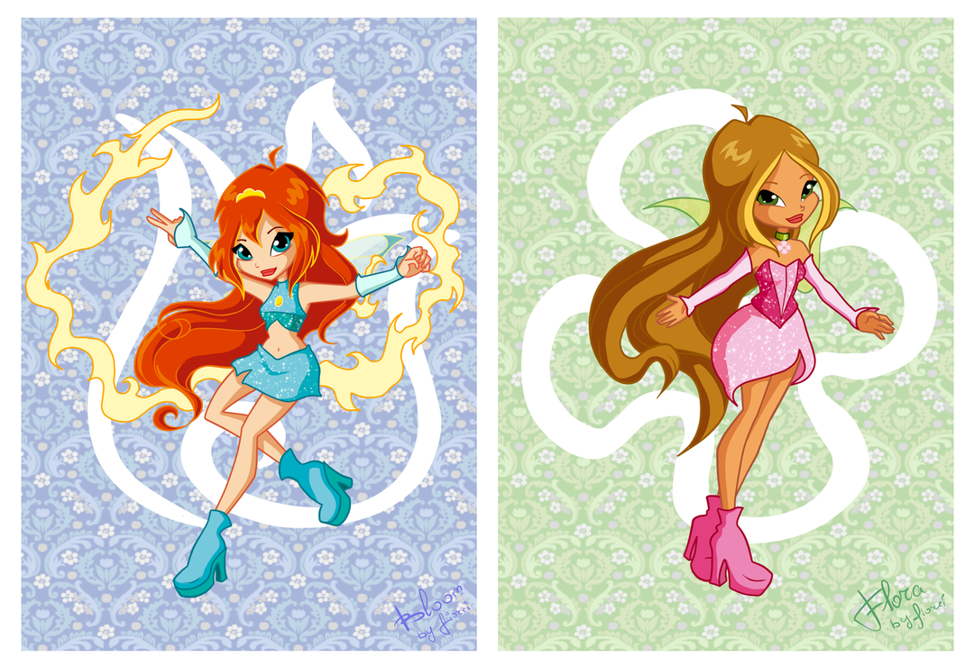 Chibi Magic Winx: Flora and Bloom by fiorei on DeviantArt