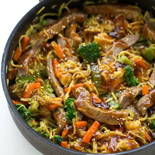 Photo of (One Skillet) Beef Chow Mein Stir Fry Recipe