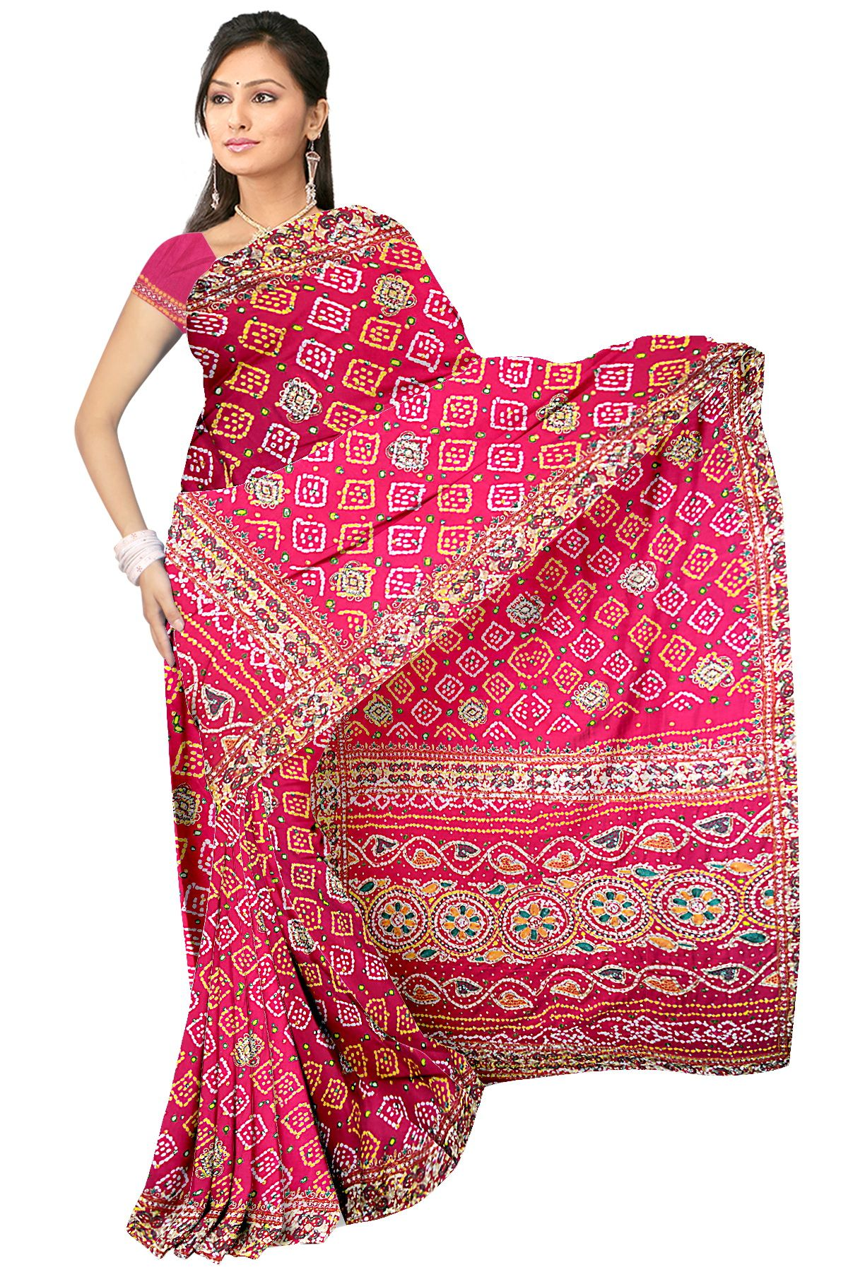 2f474892b7b21 Kala Sanskruti Pure Gaji Silk Red And Multi Colore Work Bandhani Saree  Material