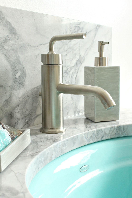 Love the blue sink! - Kohler Purist faucets in vibrant brushed ...