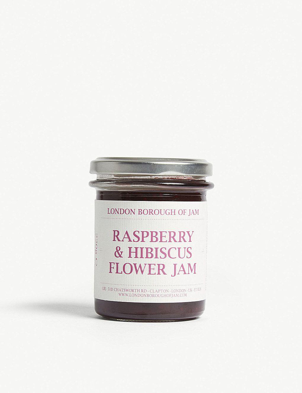 London Borough Jam Raspberry And Hibiscus Flower Jam 220g In 2020 Jam Jam Packaging Raspberry