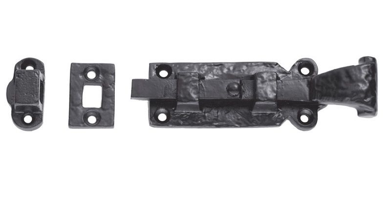 Ludlow Foundries Bolt Straight 6in Black Antique - door hardware  accessories - slide bolts - Bolt - Ludlow Foundries Bolt Straight 6in Black Antique - Door Hardware
