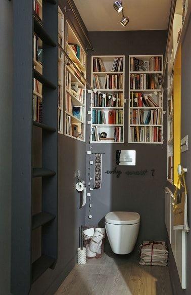 Une déco de WC peints en gris avec niches bibliothèque | build ...