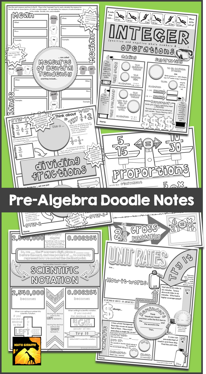 Interactive Doodle Notes For Pre Algebra