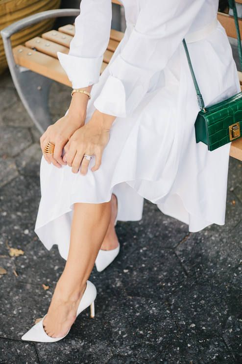 White Pointy Toe D'orsay Pumps