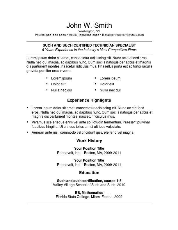 7 Free Resume Templates Job Resume Template Resume Template Free Student Resume Template