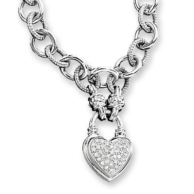 Zales Jewelry Necklaces >> 1 4 Ct T W Diamond Heart Link Necklace In Sterling Silver View