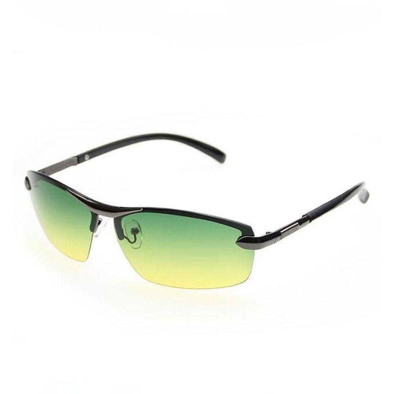 d2b70bc5361 Mens Day   Night Driving Glasses Eyewear Semi-Rimless Metal Frame Polarized  Green Yellow Anti-Reflective Coating Lenses