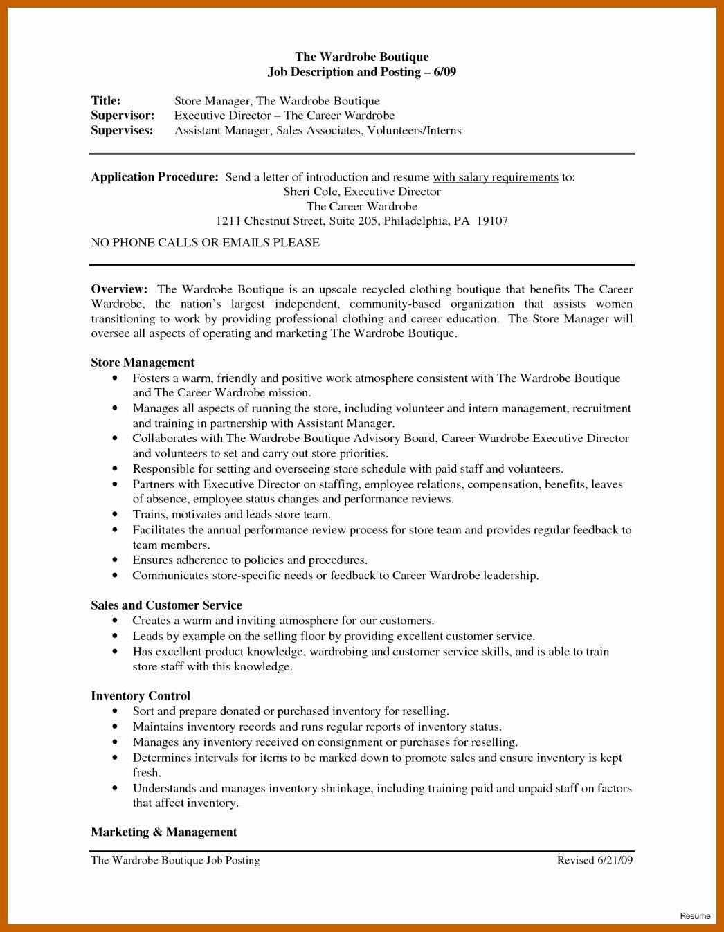 Store Manager Job Description Resume Inspirational 7 8 Sales Associate Duties Resume Job Description Resume Retail Manager