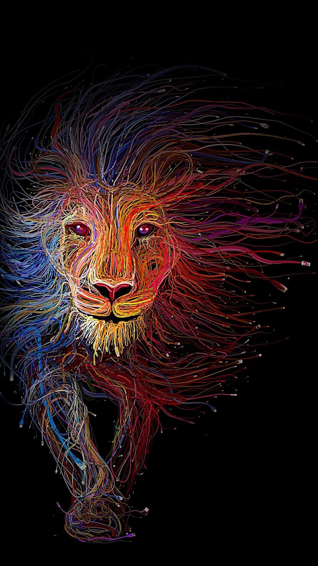 Iphone Lion Art Internet Utp Cables Color Black Wallpaper