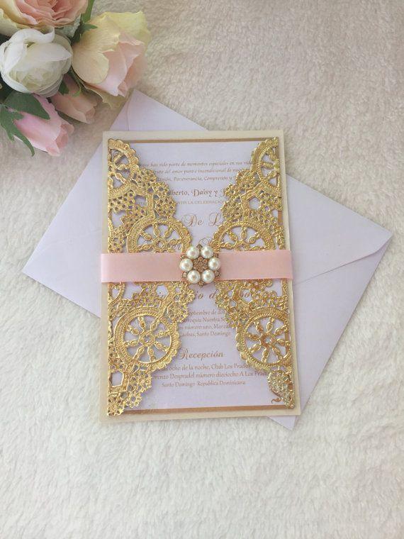 Metallic Doily Wedding Invitation, Pink And Gold Doily Wedding Invitation,  Gold Doily Invitation, Pink And Gold Wedding Invitation