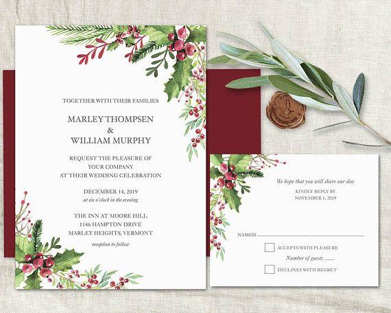 winter wedding invitation printable template rustic winter