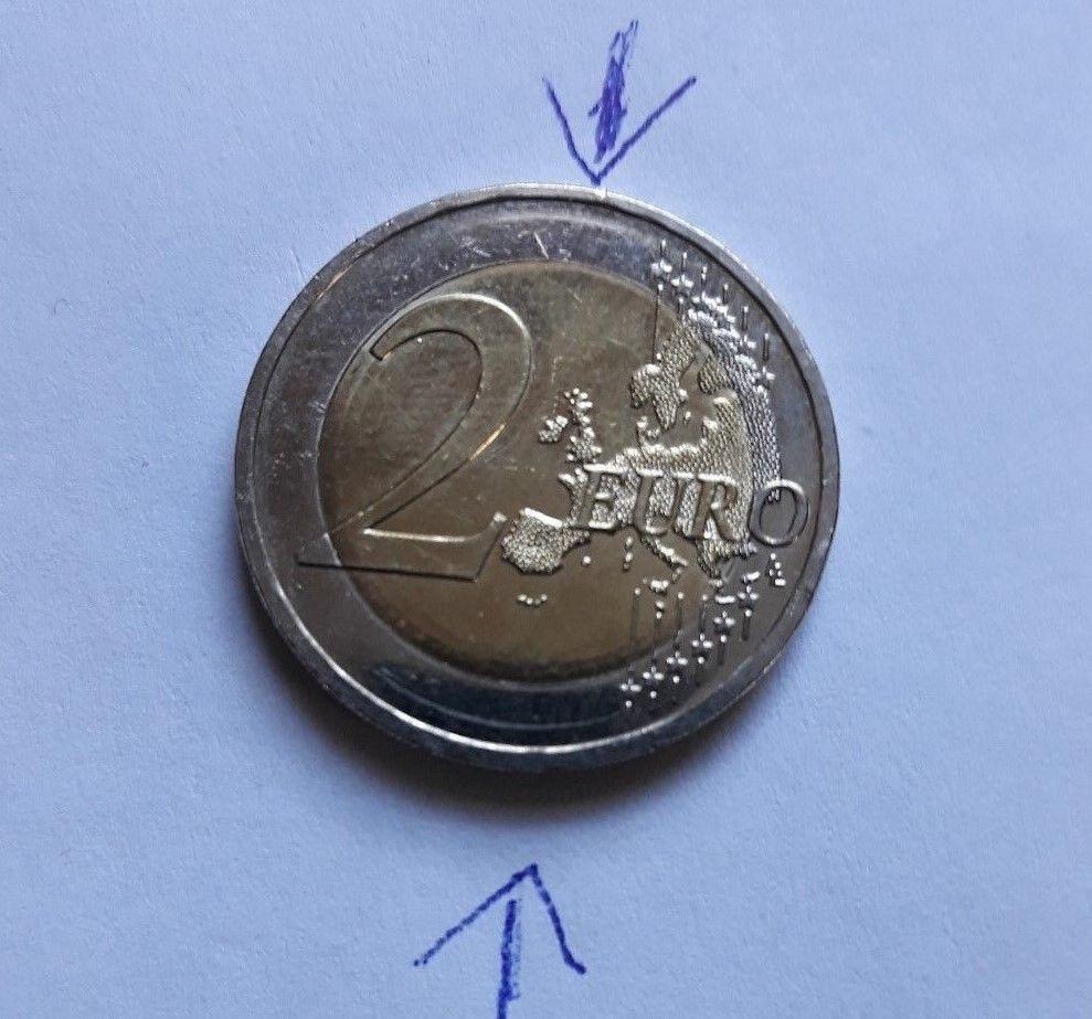 2 Euro 2008 D Fehlprägung Rand Rand Zu Tief Oder Doppelt