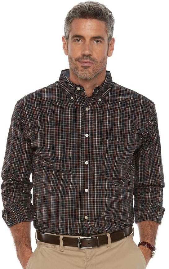 Haggar Mens Classic-Fit Plaid Button-Down Shirt