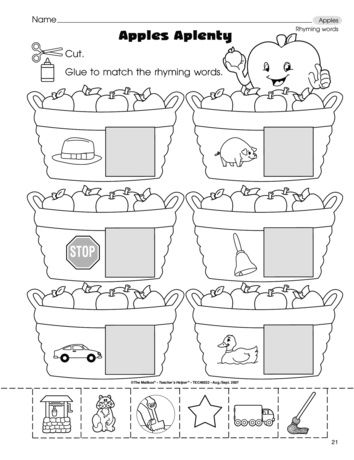 Apples Aplenty Rhyming Worksheet Free From The Mailbox