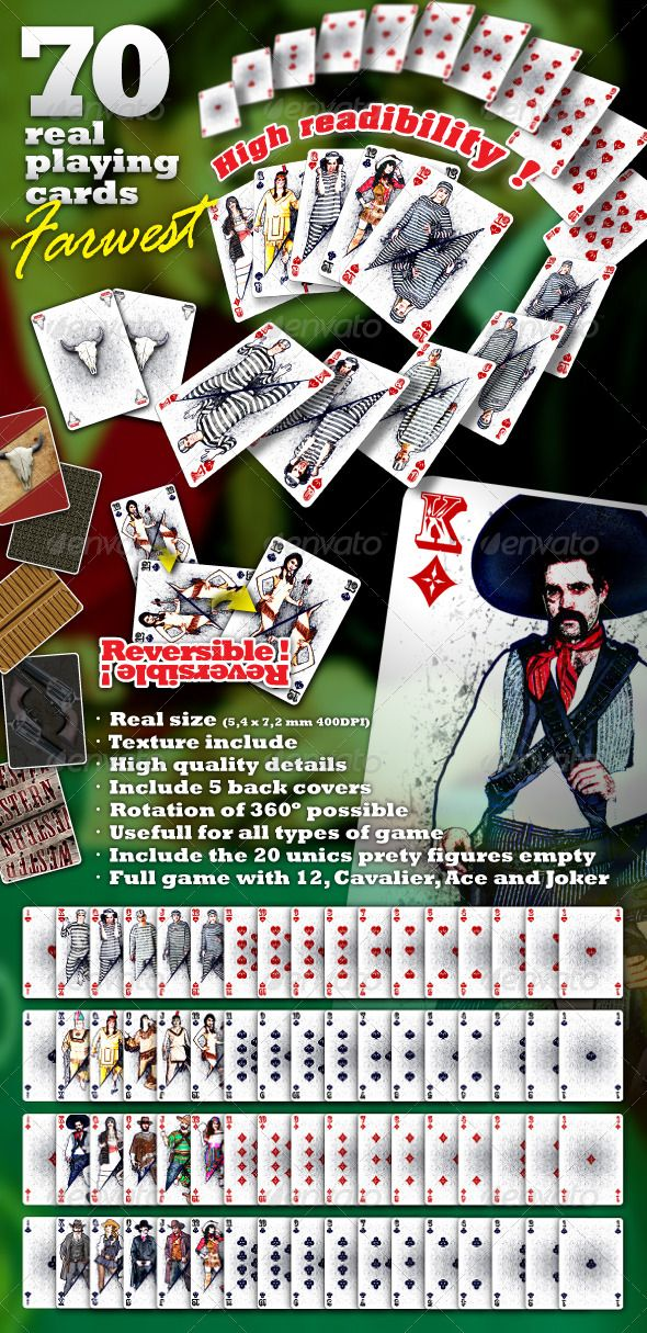 Farwest Set 70 Real Playing Cards For Gaming Game