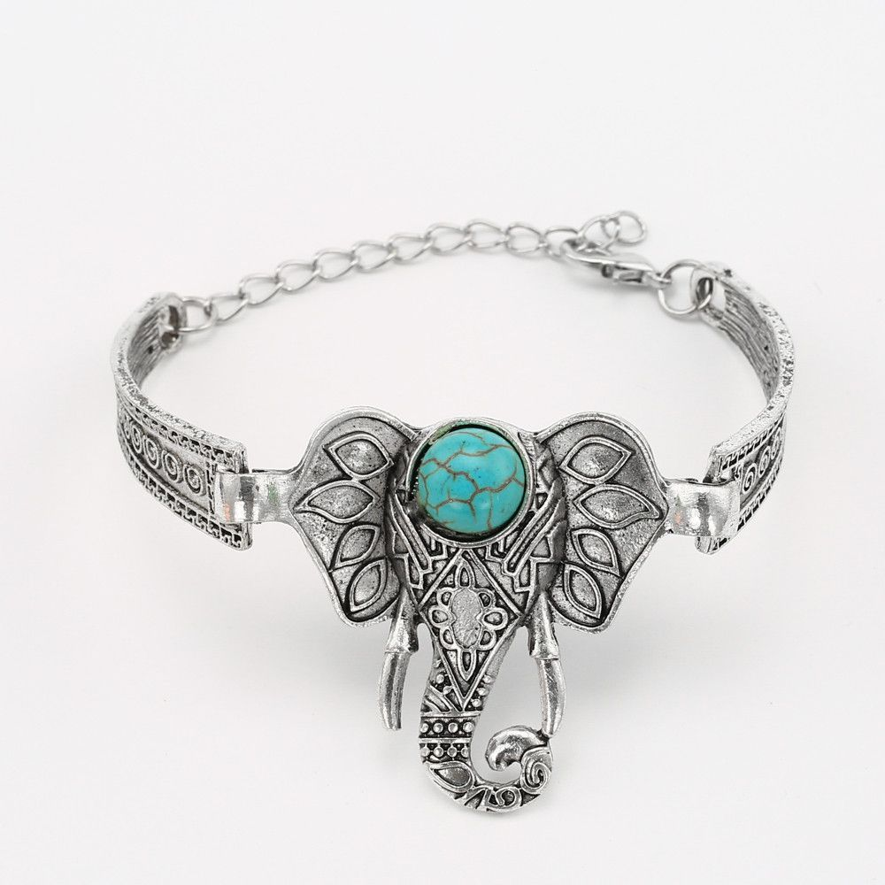 New Fashion Elephant Shape Silver Plated natural stone Bracelets Charm Bracelet& bangles For Women Jewelry
