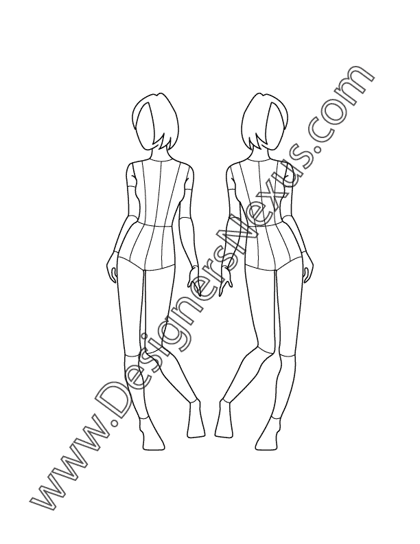 Childrens Fashion Croqui Template V12 Pre-Teen Girl Front