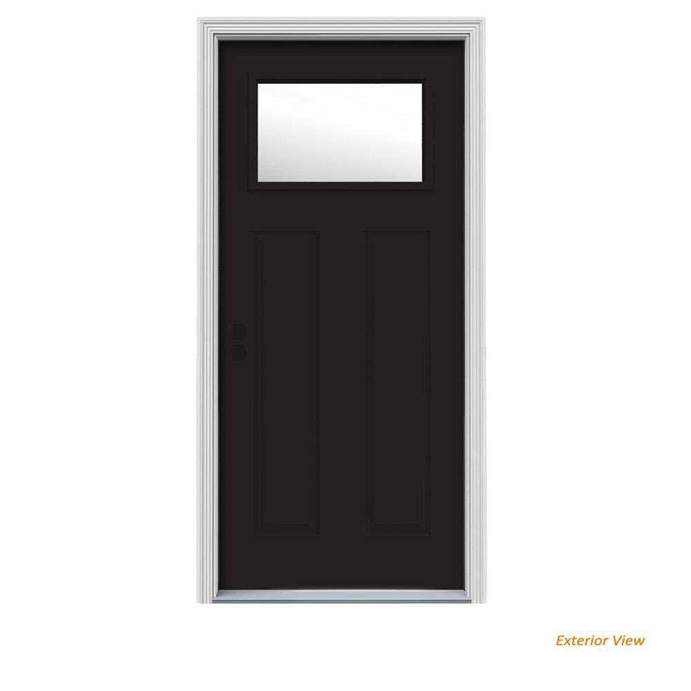 Jeld Wen 30 In X 80 In 1 Lite Craftsman Black W White Interior Steel Prehung Right Hand Inswing Front Door W Brickmould Black Brilliant White Steel Doors Exterior Doors House Styles