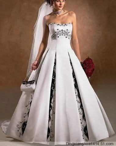 Cheap Blanco azul marino más el vestido de boda de la piso longitud ...