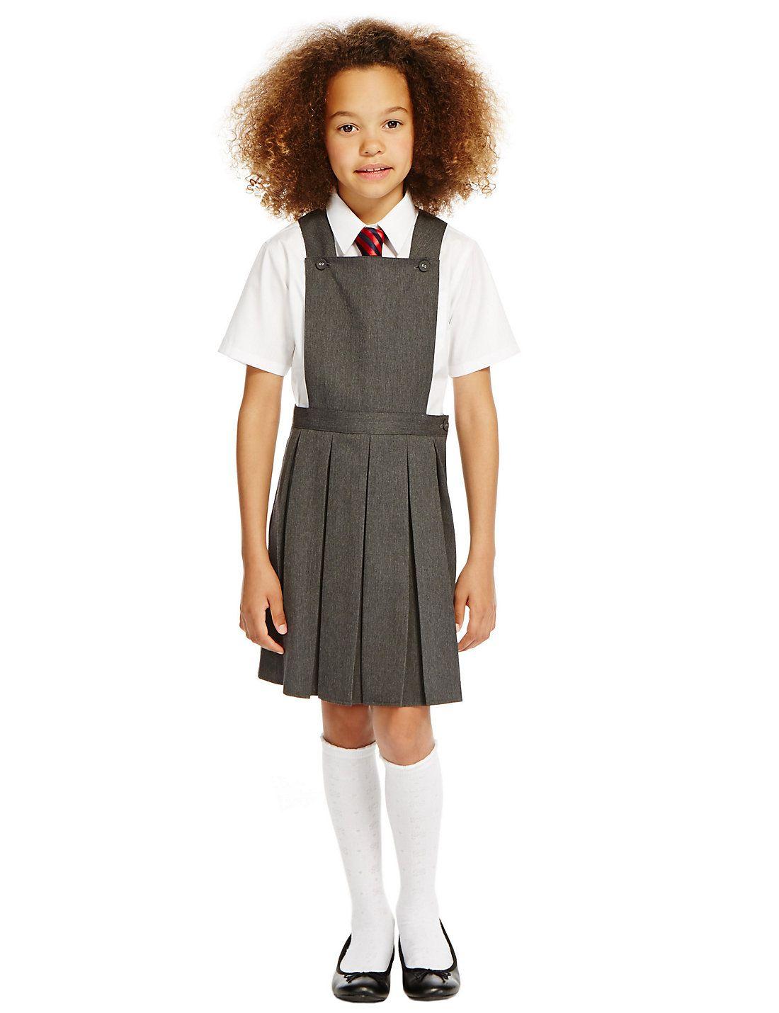 Girls Grey School Pinafore Pleated Dress School Uniform