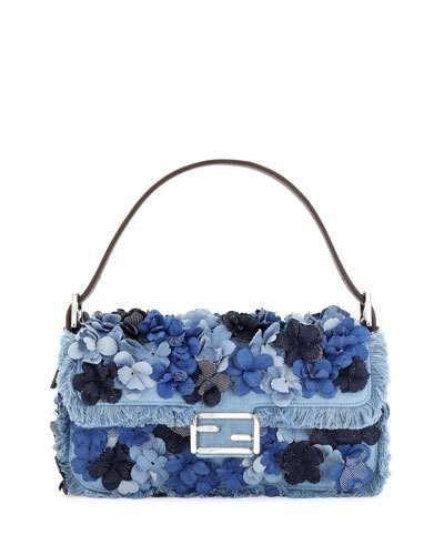 Fendi Baguette Denim Flowers Shoulder Bag