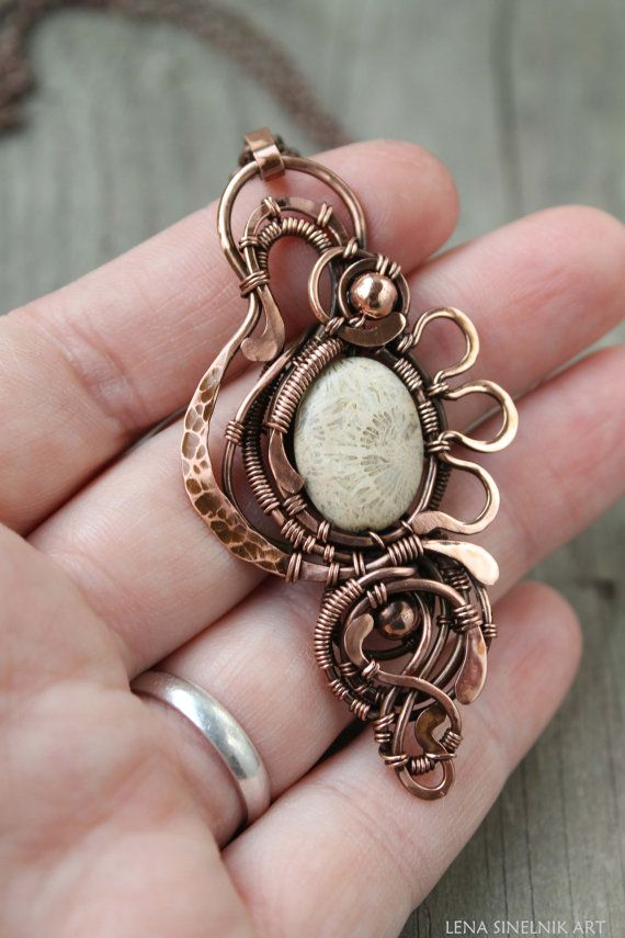 Fossil Coral pendant Wire wrap necklace Wire wrapped jewelry ...