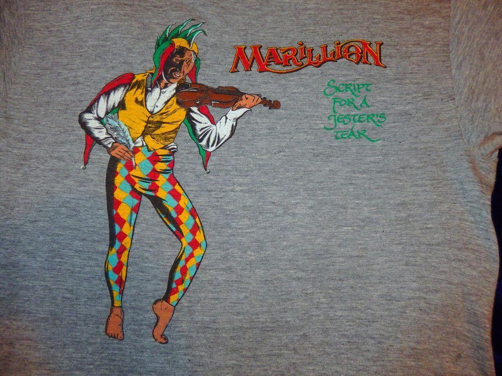 Marillion 1983 Script For A Jesters Tear Tour T Shirt Large Tour T Shirts Progressive Rock Cool Bands