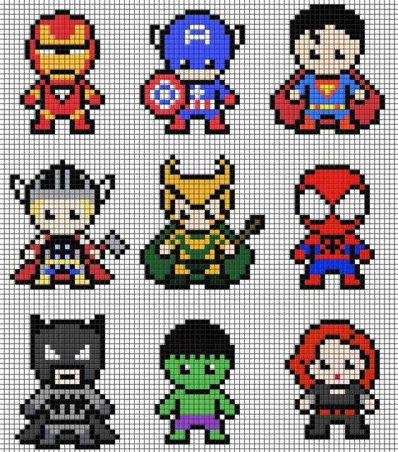 Patron hama beads - Superhéroes | Punto Cruz llaveros | Pinterest