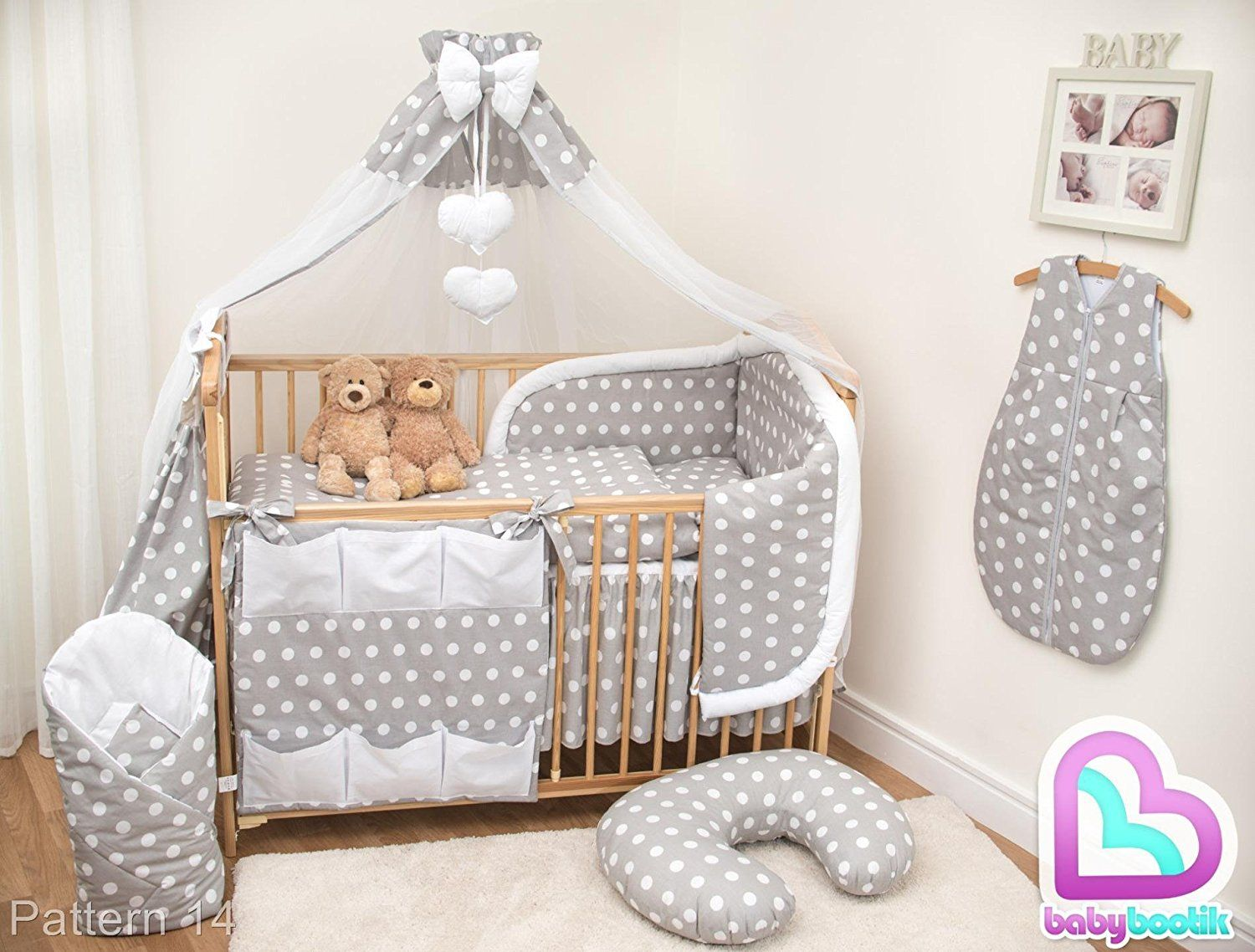10 Piece Cot Bedding Set With Safety Padded Per Fits 120x60 Cm Pattern 14