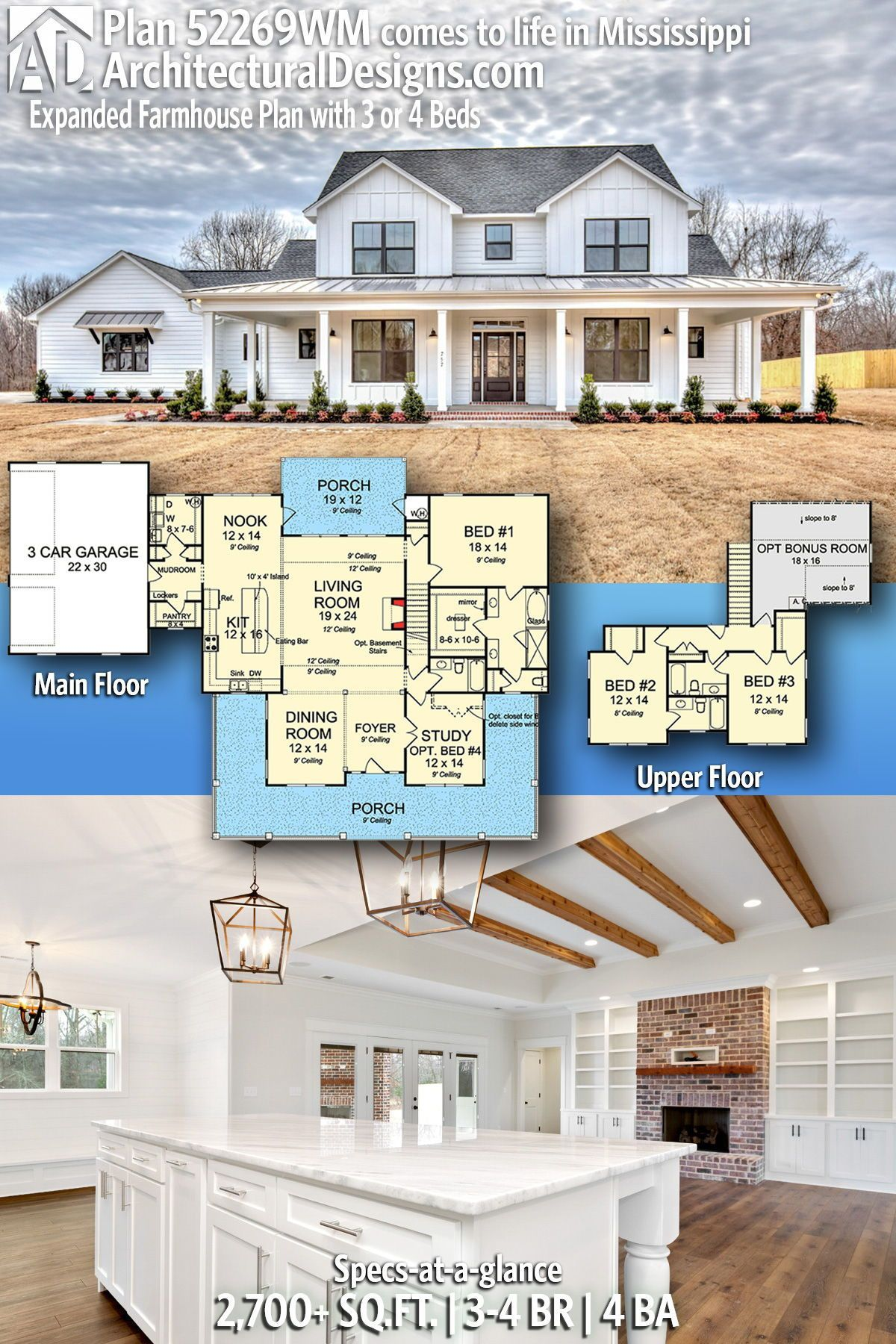 Plan 52269WM: Expanded Farmhouse Plan with 3 or 4