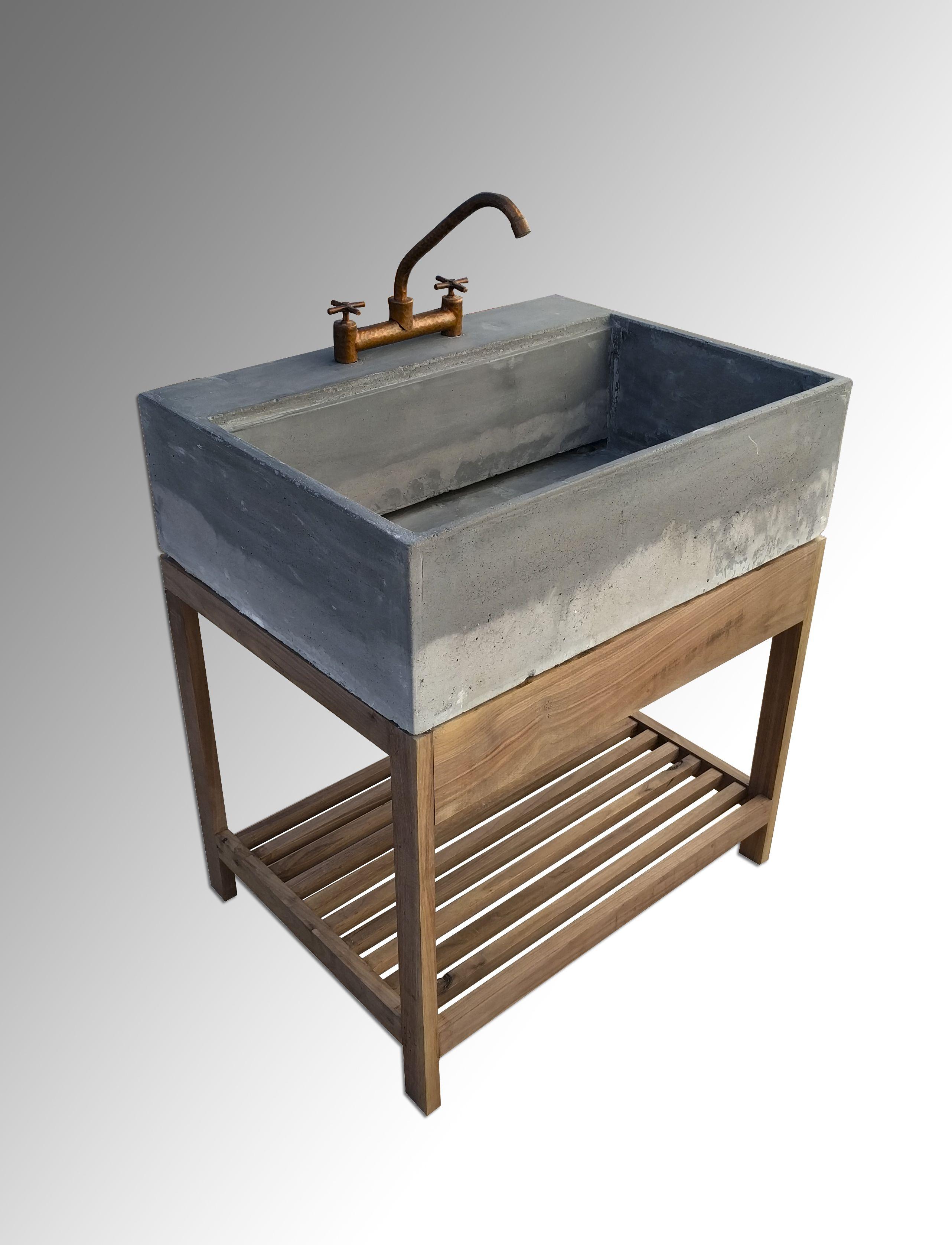 Tarja de concreto para cocina estilo rustico grifo de for Grifos de cobre