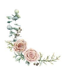 Photo of Watercolor pink roses and eucalyptus wreath. Hand painted floral vintage flowers…