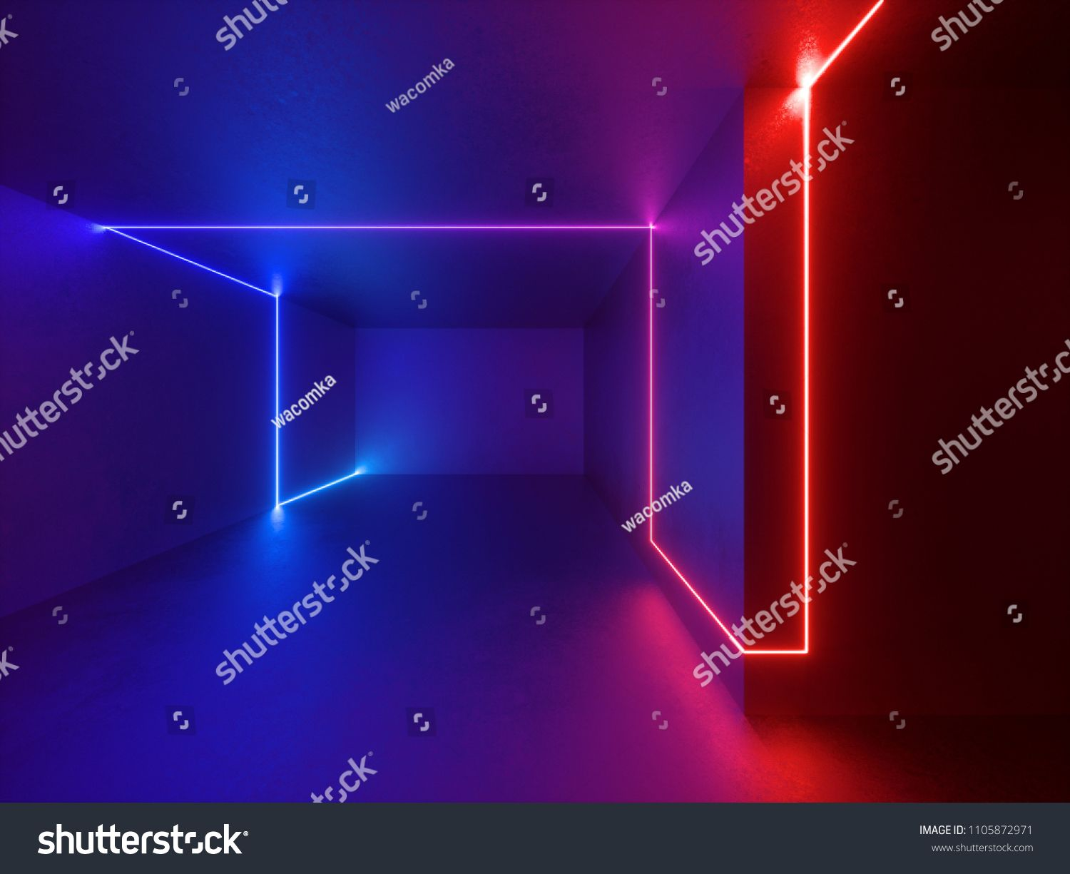 3d Render Red Blue Neon Lights Indoor Virtual Reality Glowing
