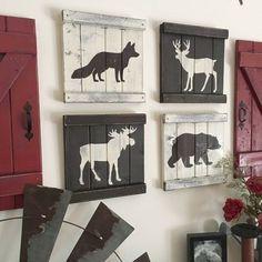RUSTIC WOODLAND DECOR Set Of Rustic Woodland Animals, Mountain House Decor,  Cabin Decor, Woodland Animal Painting