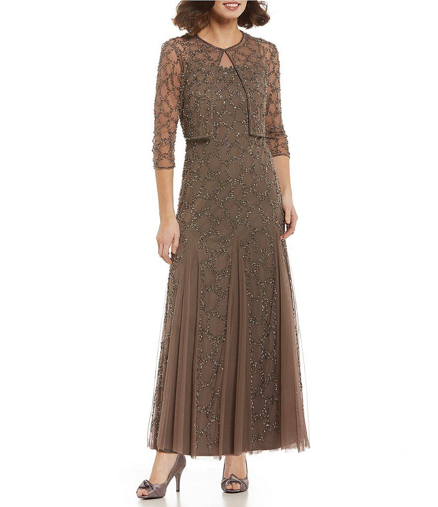 Pisarro nights twopiece beaded jacket gown clothes ideas