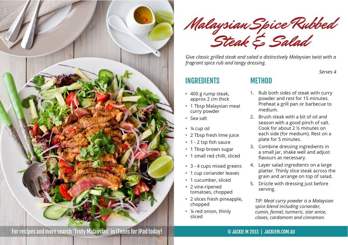 Recipe card 1 malaysian spice rubbed steak salad recipe food jackie m recipe card forumfinder Gallery
